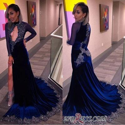 Elegant Halter Sequins Key-Hole Long-Sleeves High-Slit Prom Dress UK CC0030 BK0_2