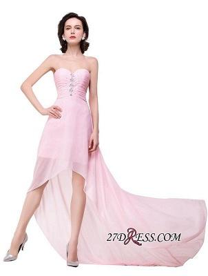 Chiffon Beadings Sweetheart Simple A-Line Hi-Lo Prom Dress UKes UK_2