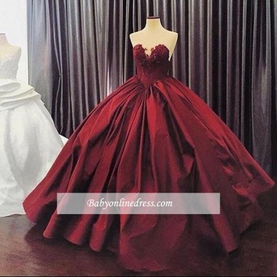Appliques Ball-Gown Elegant Sweetheart Sleeveless Prom Dress_1