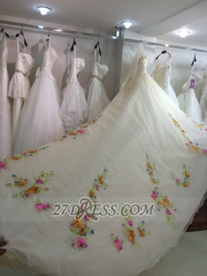 Pretty Sweetheart 3/4 Sleeve Long Wedding Dress Embroidery Flowers With Train_3