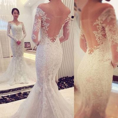 Elegant  Sexy Mermaid Off-the-shoulder Long Sleeve Lace Wedding Dress_3