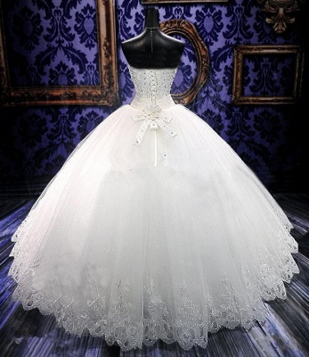 Elegant Sweetheart Sleeveless Tulle Lace Wedding Dress With Beadss Crystals_2