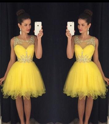 Gorgeous Beadings Yellow Short Cocktail Dress UK Illsuion Sleeveless  BA2862_3