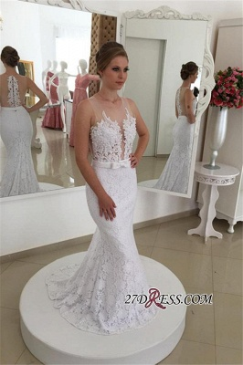 Sleeveless Simple Sexy Mermaid Lace Appliques White Wedding Dress_2