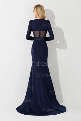 Elegant Long Sleeve Mermaid Evening Dress UK Crystals Sweep Train_2