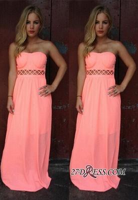 Simple Strapless Sleeveless Floor-length A-line Prom Dress UK_3
