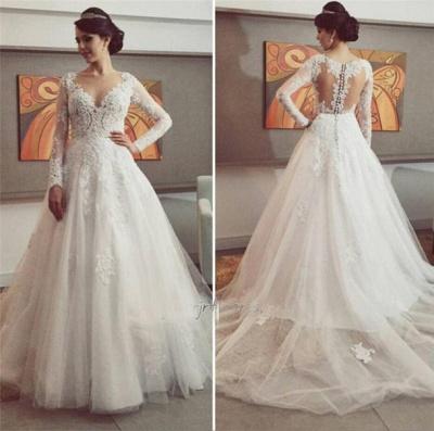 Delicate Lace Appliques Tulle Wedding Dress Button Zipper Back Long Sleeve_3