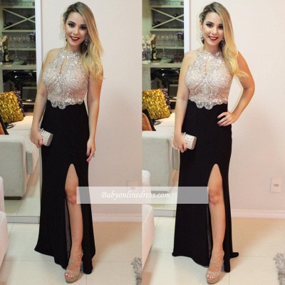 Black prom Dress UK with slit, evening Dress UK_1