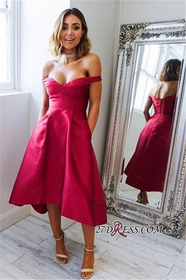 Off-the-shoulder Fuchsia Prom Dress UK | Hi-lo Elegant Sexy Evening Dress UK_1