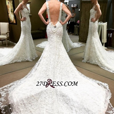 Backless Lace Spaghetti-Straps Elegant Sexy Mermaid Beaded Wedding Dresses UK_1