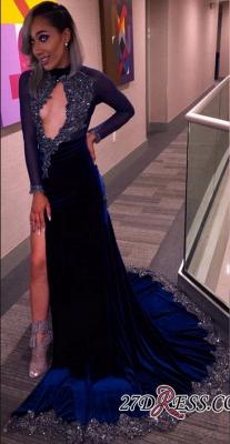 Elegant Halter Sequins Key-Hole Long-Sleeves High-Slit Prom Dress UK CC0030 BK0_3