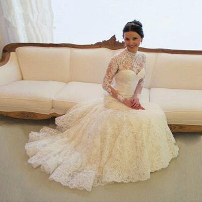 Gorgeous Long Sleeve lace Wedding Dress High-neck Open Back Zipper_5