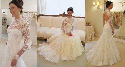 Gorgeous Long Sleeve lace Wedding Dress High-neck Open Back Zipper_4