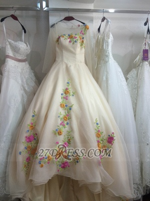 Pretty Sweetheart 3/4 Sleeve Long Wedding Dress Embroidery Flowers With Train_1