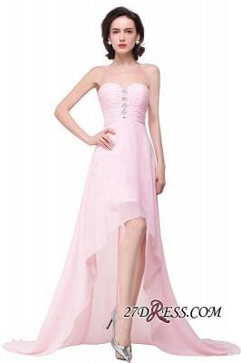 Chiffon Beadings Sweetheart Simple A-Line Hi-Lo Prom Dress UKes UK_6