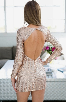 Jewel Newest Sequined Long-Sleeve Mini Homecoming Dress UK_3