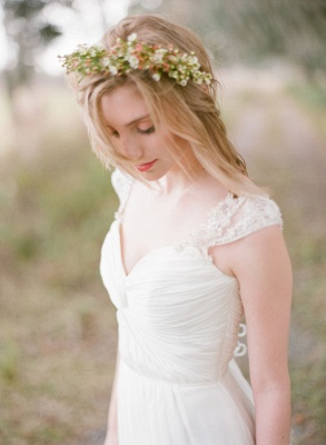 Elegant Cap Sleeve Lace Wedding Dress Long  Sweetheart_4
