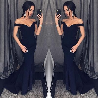 Elegant Black Off-the-Shoulder Prom Dress UK Long Mermaid Evening Dress UK On Sale BA6751_3