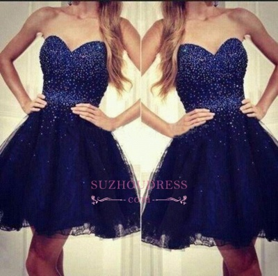 Strapless Sweetheart Short Beading Tulle Navy-Blue Sequins Homecoming Dress UKes UK_1