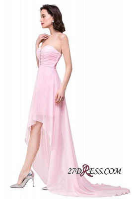 Chiffon Beadings Sweetheart Simple A-Line Hi-Lo Prom Dress UKes UK_1