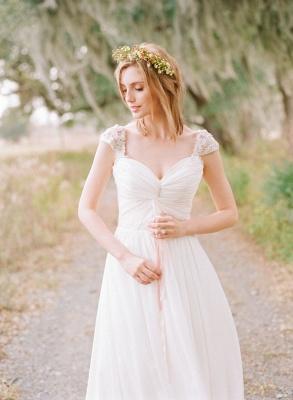 Elegant Cap Sleeve Lace Wedding Dress Long  Sweetheart_1