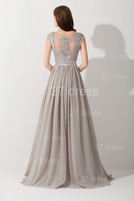 Modern Lace Appliques Chiffon Evening Dress UK Cap Sleeve_2