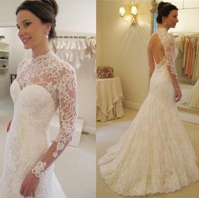 Gorgeous Long Sleeve lace Wedding Dress High-neck Open Back Zipper_3