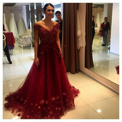 Gorgeous Off-the-Shoulder Burgundy A-Line Prom Dress UKes UK Tulle Appliques_3