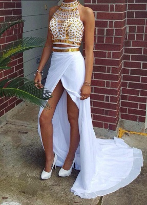 Gorgeous Halter Crystals Chiffon Two Pieces Prom Dress UK Front Split_1