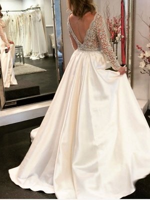 V-Neck Long Sleeve Wedding Dress With Beadss Crystal_4