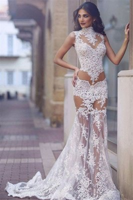 Elegant Lace Prom Dress UK | Mermaid Sheer-Skirt Party Gowns_1