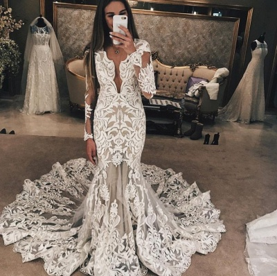 Long Sleeve Unique Lace Wedding Dresses UK |  Sexy Mermaid Lace Long Train Bridal Gown_3