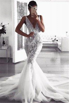 Elegant  Sexy Mermaid Deep v-Neck Wedding Dresses UK | Sleeveless Tulle Cheap Appliques Bridal Gowns_1