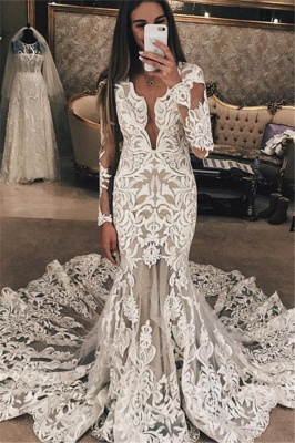 Long Sleeve Unique Lace Wedding Dresses UK |  Sexy Mermaid Lace Long Train Bridal Gown_1