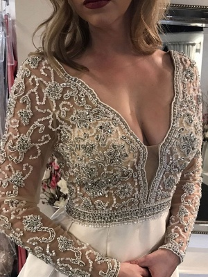 V-Neck Long Sleeve Wedding Dress With Beadss Crystal_3
