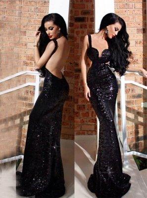 Elegant Black Backless Evening Dress UK | Mermaid Sleeveless Prom Dress UK_1