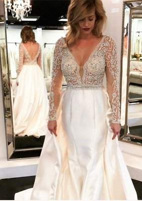 V-Neck Long Sleeve Wedding Dress With Beadss Crystal_1