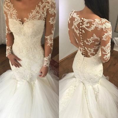 Elegant Long Sleeve Lace Wedding Dress   Sexy Mermaid Bridal Gowns_4