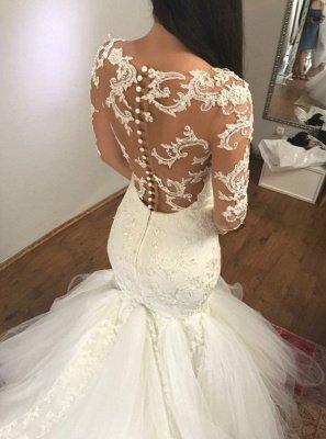 Elegant Long Sleeve Lace Wedding Dress   Sexy Mermaid Bridal Gowns_3