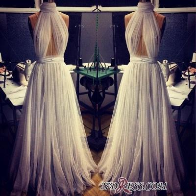 A-line Sleeveless Newest High-Neck Tulle Prom Dress UK BA2524_1