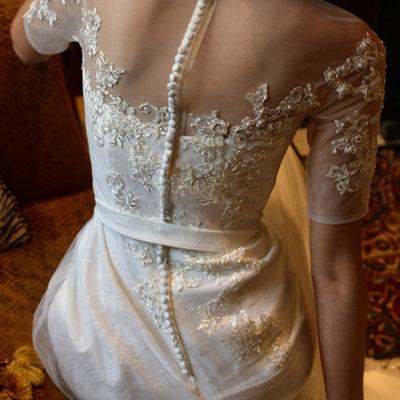 Elegant Illusion Short Sleeve Wedding Dress Tulle Lace Appliques White_6