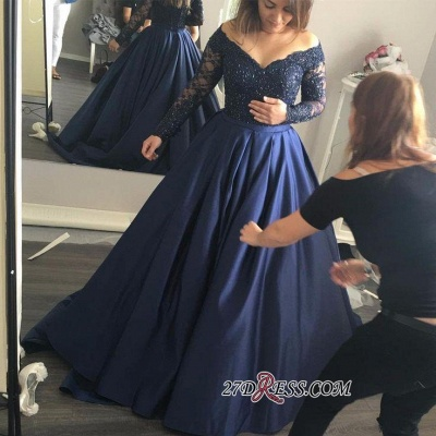 Long-Sleeves Off-the-Shoulder Navy-Blue Lace Sexy Prom Dress UK qq0253_1