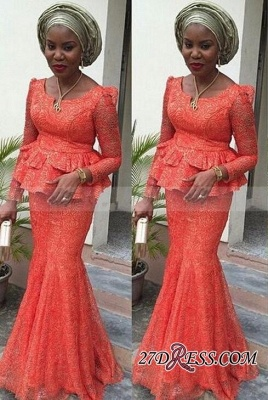 Mermaid Long-Sleeves Lace Nigerian Floor-length Evening Dress UK_2