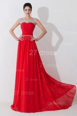Modern Red Illusion Chiffon Evening Dress UK Crystals Sweep Train_1