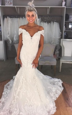 Elegant  Sexy Mermaid Off-the-Shoulder Wedding Dresses UK Lace Bridal Gowns_1