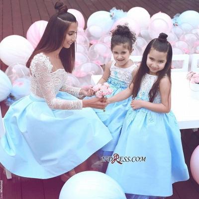 Appliques Elegant White Sleeveless Lace Flower-Gril Dresses