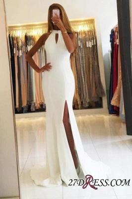 Mermaid Sleeveless Simple Side-Slit Halter Open-Back Evening Dress UKes UK BA7367_2