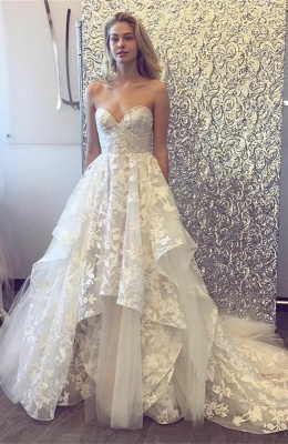 Pretty Sweetheart Wedding Dress | Lace Appliques Princess Bridal Gowns_1