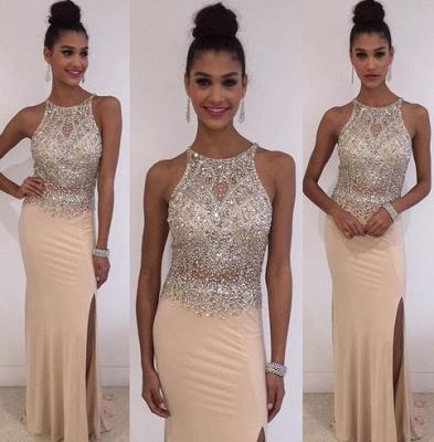 Stunning Sleeveless Scoop Evening Dress UK Crystals Split Floor Length TH027_3
