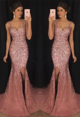 Luxury Sleeveless V-neck Crystal Evening Dress UK Mermaid With Crystal AP0_2